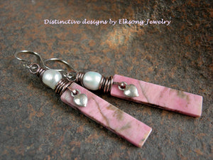 Petal pink stone tab earrings with hand cut natural rhodonite stone, freshwater pearls & sterling heart charms.