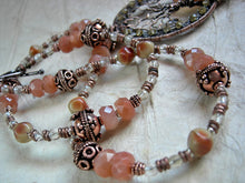 Load image into Gallery viewer, Boho luxe copper wire wrap statement necklace with a tree & tangerine quartz focal, sunstone & citrine. Strung bead style necklace.