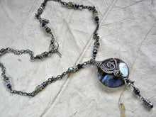 Load image into Gallery viewer, Boho luxe, sterling wire wrap necklace with luminous labradorite & faceted sapphire beads. Sterling toggle clasp.