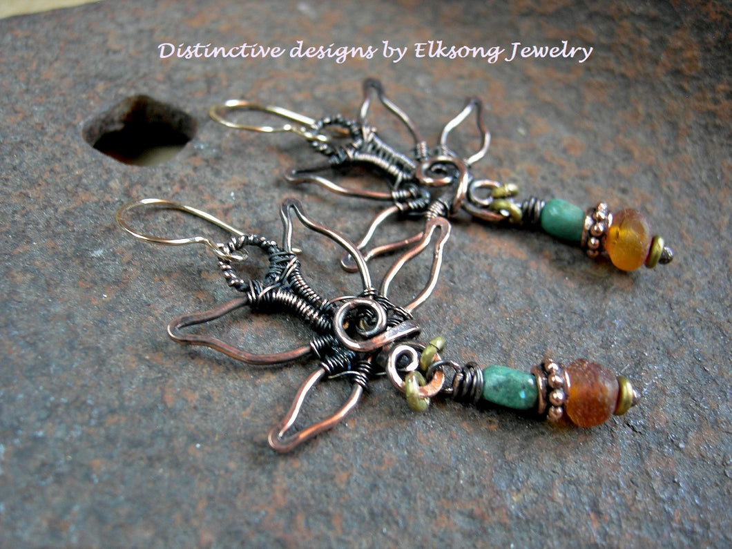Copper lotus earrings with handmade wire forms & natural gemstone. U.S. turquoise, Baltic amber & 14kt gold filled ear wires.