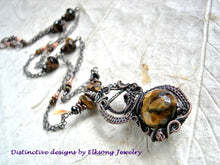Load image into Gallery viewer, Tigereye & copper art necklace with oxidized wire wrap and faceted gemstone bead focal. Pendant length, chain style necklace.