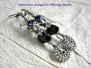 Blue on Black, sugar skull earrings with black magnesite skulls, deep blue flowers & lots of silver details.