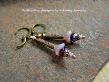 Load image into Gallery viewer, Adorable lavender flower earrings with glass flowers, antiqued brass cylinders & crystal.