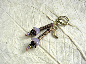 Faery couture style lavender flower earrings with glass flowers, antiqued brass cylinders & crystal.