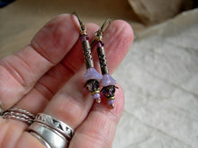 Load image into Gallery viewer, Dainty, vintage style lavender flower earrings with glass flowers, antiqued brass cylinders & crystal.