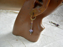 Load image into Gallery viewer, Adorable lavender flower earrings with glass flowers, antiqued bronze cylinders & crystal.