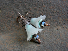 Load image into Gallery viewer, Faery couture earrings in seafoam colors. Frosted white, soft aqua & dark aged copper.