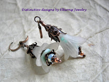 Load image into Gallery viewer, Faery Bell earrings in seafoam colors. Frosted white, soft aqua & dark aged copper. Faery couture earrings.
