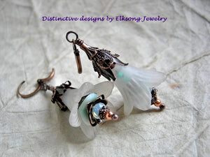 Faery Bell earrings in seafoam colors. Frosted white, soft aqua & dark aged copper. Faery couture earrings.