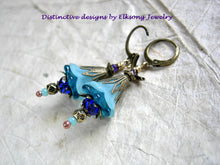 Load image into Gallery viewer, Aqua & cobalt flower earrings with resin & glass flowers, faceted crystal & glass beads and antiqued brass filigree.