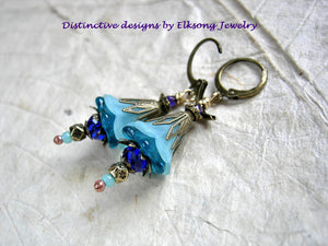 Aqua & cobalt flower earrings with resin & glass flowers, faceted crystal & glass beads and antiqued brass filigree.