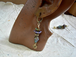 Colorful Queen of Mardi Gras sugar skull earrings. Antiqued brass & gold, glass flowers & crystal.
