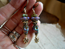 Load image into Gallery viewer, Queen of Mardi Gras colorful sugar skull earrings. Antiqued brass & gold, glass flowers & crystal.