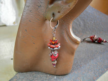Load image into Gallery viewer, Dia de Los Muertos style red sugar skull earrings with orange glass flower & antiqued copper crowns. Bold & colorful Fire Spirit