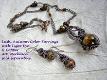 Load image into Gallery viewer, Lush, autumn color earrings & necklace  with faceted tiger eye & black tourmaline and oxidized copper wire wrap.