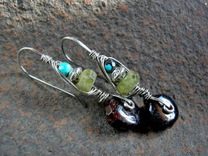 Colorful gemstone & sterling wire wrapped hook earrings, urban gypsy, elegant boho, original design
