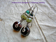 Load image into Gallery viewer, Gemstone & sterling wire wrapped hook earrings, urban gypsy, elegant boho, original design