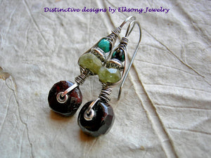 Gemstone & sterling wire wrapped hook earrings, urban gypsy, elegant boho, original design