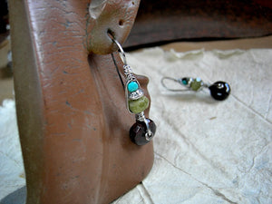 Natural gemstone & sterling wire wrapped hook earrings, urban gypsy, elegant boho, original design