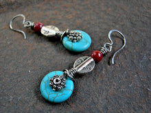 Load image into Gallery viewer, Sterling wire wrap earrings with turquoise colored magnesite, vintage coral & silver Thai & Tibetan style beads.