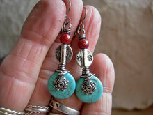 Load image into Gallery viewer, Exotic boho earrings with turquoise colored magnesite, vintage coral & silver Thai & Tibetan style beads.