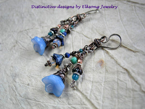 Blue flower cluster earrings with glass flowers,  faceted blue gemstone & oxidized copper.