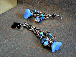 Boho/gypsy blue flower cluster earrings with glass flowers,  faceted blue gemstone & oxidized copper.