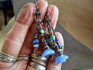 Earthy elegant blue flower cluster earrings with glass flowers,  faceted blue gemstone & oxidized copper.