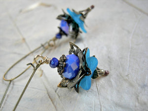 Blue lotus earrings, elegant faery flower earrings in shades of blue, brass filigree & sparkling crystal rondelles.