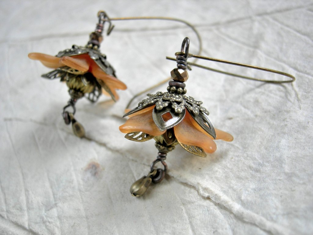 Autumn flower earrings, fall color flower jewelry, flower faery jewelry with resin flowers, brass filigree & rosebud charms.