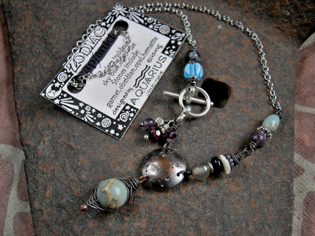Aquarius Zodiac necklace, custom birthstone jewelry, unique astrological necklace