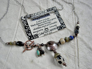 Capricorn zodiac necklace, custom birthstone jewelry, unique astrological necklace