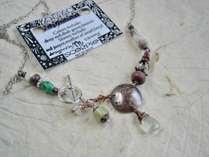 Scorpio zodiac necklace, handmade birthstone gemstone jewelry, custom astrological necklace