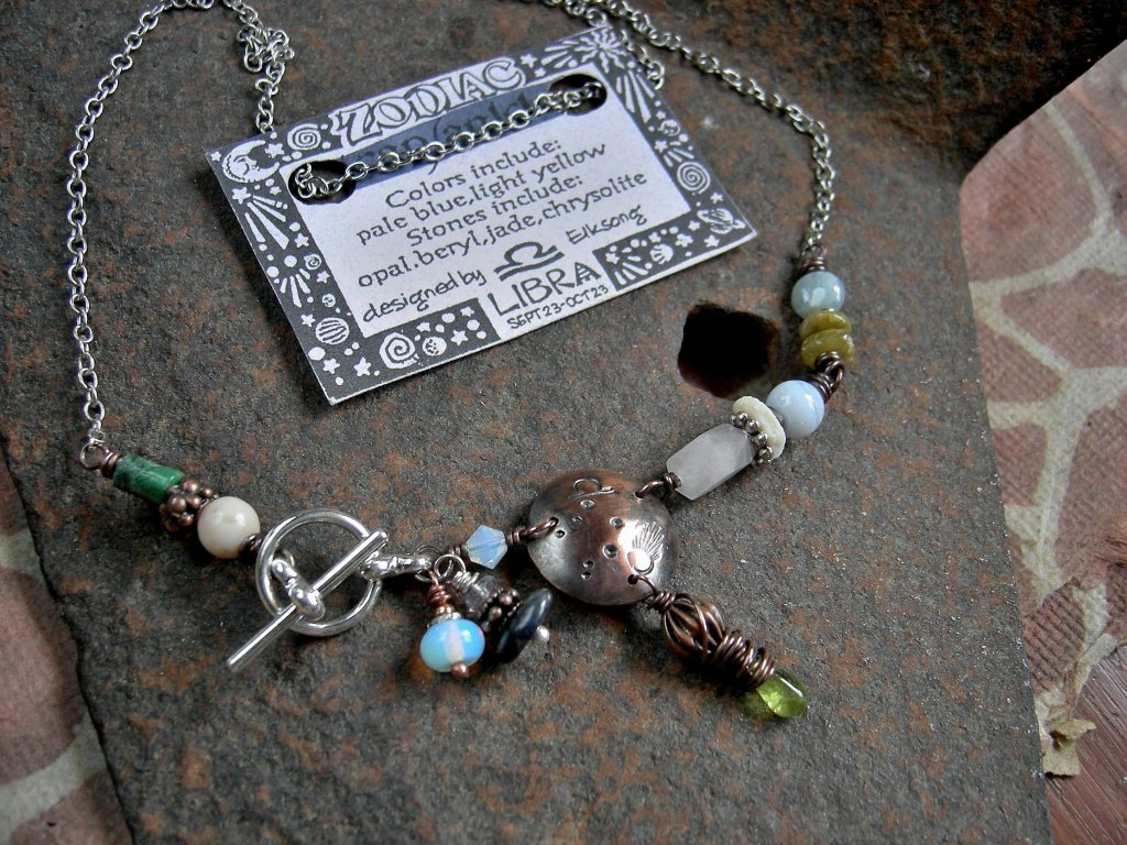Libra zodiac necklace, custom birthstone jewelry, unique handmade astrological necklace