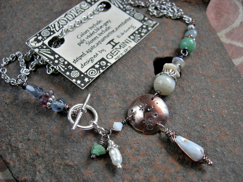 Gemini zodiac necklace, handmade custom birthstone necklace, unique astrological jewelry