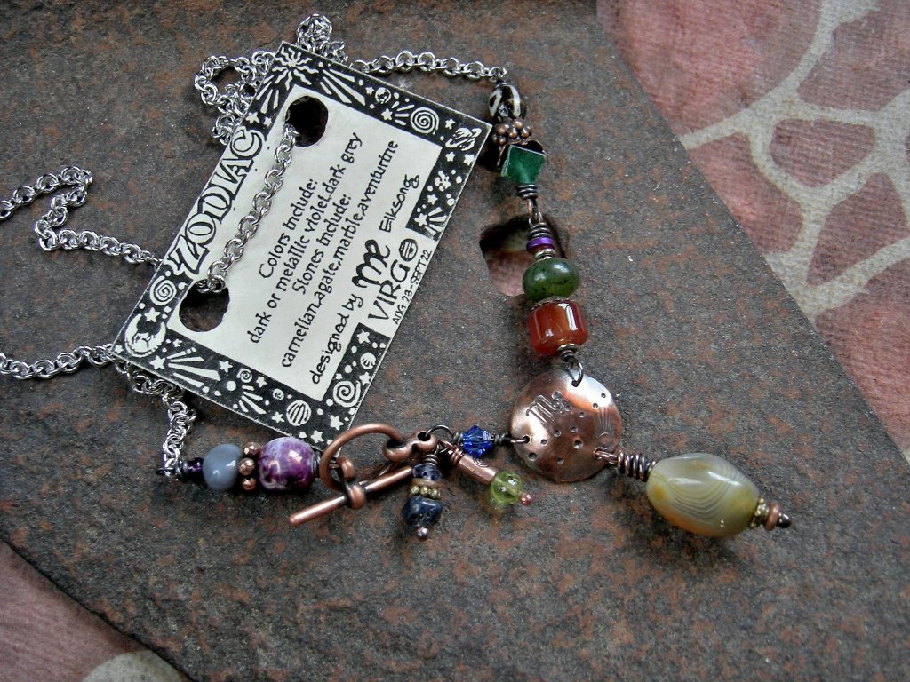 Virgo zodiac necklace, handmade copper & gemstone birthstone necklace, astrological jewelry