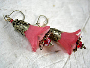 Victorian faery couture, rose red flower earrings with resin blossoms, crystal rondelles & antiqued brass filigree. Statement flower earrings.