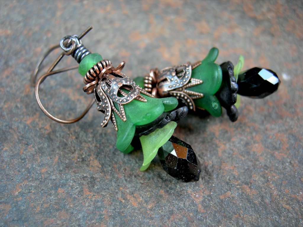 Elegant flower drop earrings in green, black & antiqued copper. Sophisticated faery couture.