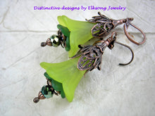 Load image into Gallery viewer, Lime green earrings in lush faery flower style, Antiqued copper filigree & crystal rondelles.