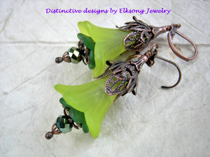 Lime green earrings in lush faery flower style, Antiqued copper filigree & crystal rondelles.