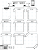 BULLET JOURNAL | 4 WEEKLY ONE PAGE LAYOUTS | PRINTABLE