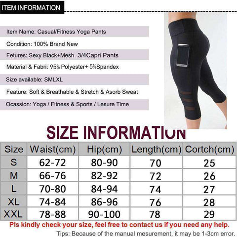 Women's High Waist Mesh Yoga Pants with Pockets Size Chart