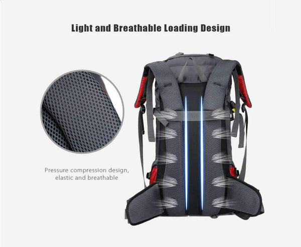 60L Outdoor Backpack Camping Bag with Rain Cover - RhinocerosX