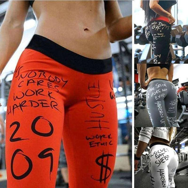 Best Women's Workout Leggings 2017: Sexy Letter Print Fashion Tights!-RhinocerosX