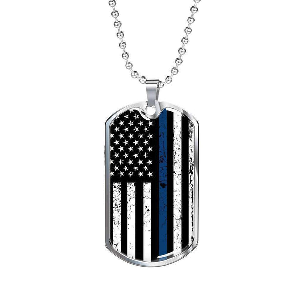 Engraved Stainless Dog Tag Pendant With Ball Chain-Thin Blue Line Apparel-RhinocerosX