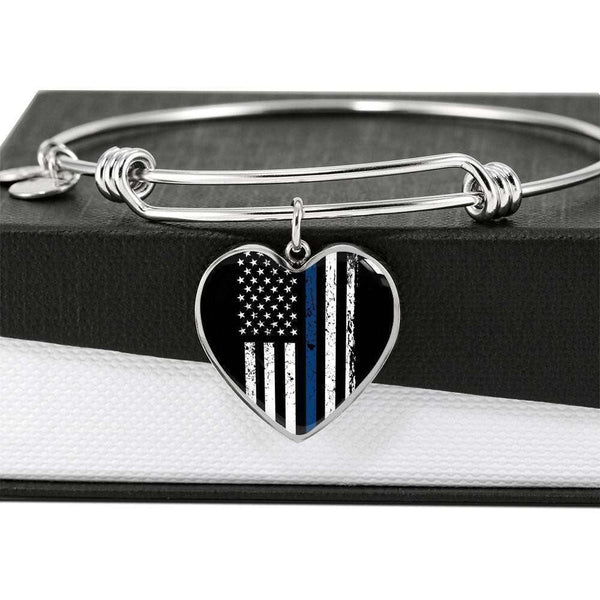 Engraved Stainless Heart Pendant Bangle-Thin Blue Line Apparel-RhinocerosX
