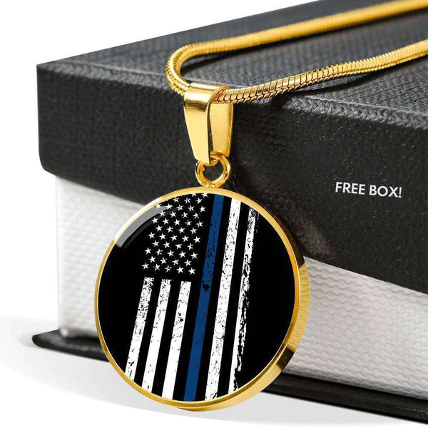 Gold Plated Circle With Pendant With Snake Chain-Thin Blue Line Apparel-RhinocerosX