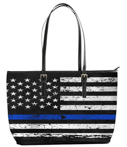 Leather Tote Bag (Large)-Thin Blue Line Apparel-RhinocerosX