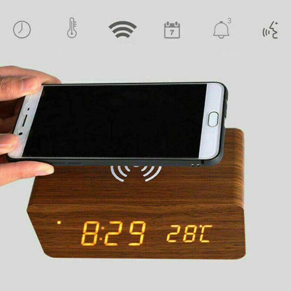 LED Electric Alarm Clock W/ Qi Wireless Phone Charging Pad Station
