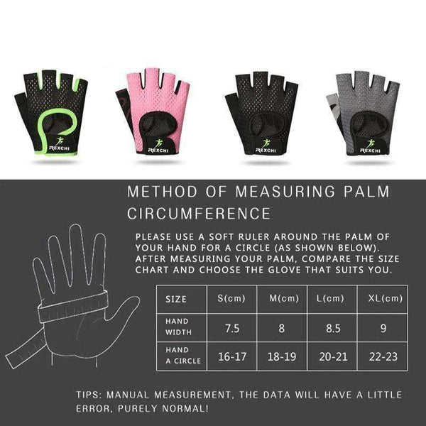 Men & Women's fitness gloves for weightlifting Size Chart